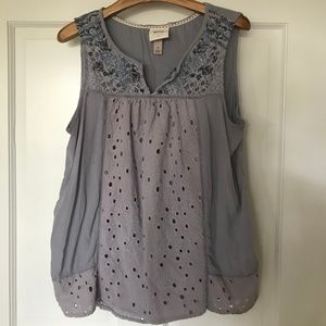 Purple Knox Rose Embroidered and Eyelet Tank